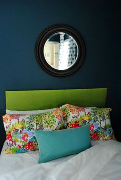 I'm really loving this color of teal for my bedroom--my friend Kara found this example