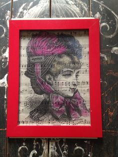 Old style 1800's lady printed on old music sheet upcycled