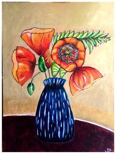 Fiori - acrilico, 3/05/2015 (reinterpretazione di un dipinto di Sarah van Beckum)