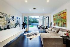 Contemporary living space connected with the outdoors