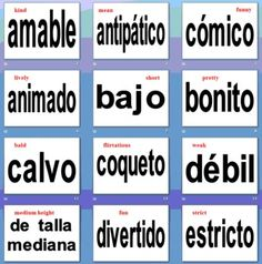 This PowerPoint contains 66 of the most common adjectives used to describe people in terms of appearance and personality.  One Spanish adjective is...