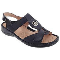 Boulevard Damen Sandale mit Klettverschluss und Schmuckstein (39 EUR) (Marineblau) - http://on-line-kaufen.de/boulevard-apparel-group/39-eu-boulevard-damen-sandale-mit-und-3