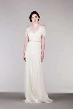 Spaghetti Straps Pleated Long Chiffon Wedding Dress with Crystal Belt
