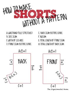 DIY Clothing & Tutorials: Make a pattern from existing shorts  without taking them apart