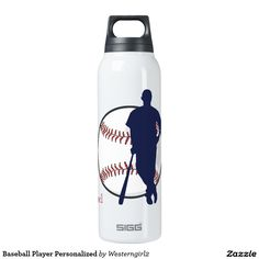 Create your own personalized Baseball water bottle right here on Zazzle! Thermos Water Bottle, American Sports, Baseball Players, Sports Bottles, Warm