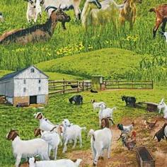 GOATS FARM ANIMALS FABRIC