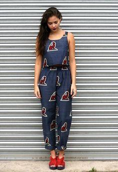 African wax print matching bespoke twin set trousers & top