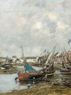 blastedheath:  Eugène Boudin (French, 1824-1898,) Le port de Trouville, marée basse, c.1883-88. Oil on panel, 35 x 26.5cm.