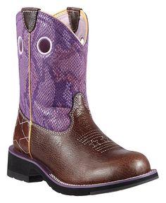 Ariat Fatbaby Starstruck Purple Python Print Cowgirl Boots - Round Toe