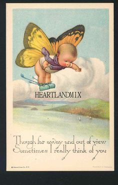 """""""Though far away and out of view, Sometimes I really think of you"""" Charles Twelvetrees illustration Images Vintage, Vintage Pictures, Vintage Greeting Cards, Vintage Ephemera, Butterfly Fairy, Vintage Butterfly, Butterfly Wings, Poster S, Fairy Art"""