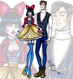 Hayden Williams Fashion Illustrations: 'Disney Darling Couples' by Hayden Williams: Snow White & Prince Florian