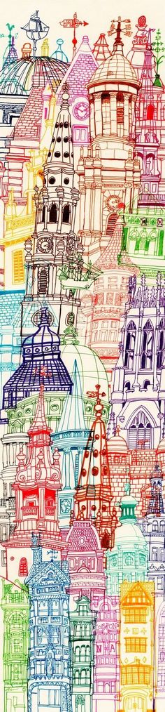 London Towers Drawing Art Print by Cheism. This kind of repetitious line drawing helps me ground after a difficult therapy session. Art And Illustration, Oeuvre D'art, Ink Drawings, Sketchbook Drawings, Mail Art, Art Lessons, Painting & Drawing, Illustrators, Art Projects