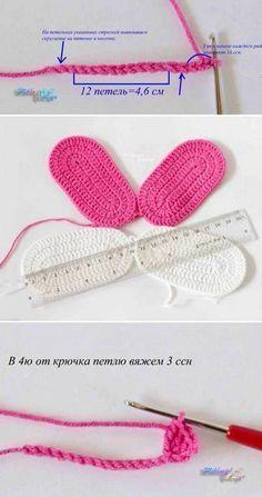 Tutorial en imágenes de sandalias para bebé tejidas con ganchillo con moldes y patrón, muy sencillas y bien detallado. Crochet Baby Sandals, Crochet Baby Clothes, Crochet Shoes, Crochet Slippers, Cute Crochet, Knit Crochet, Crochet Baby Dress Pattern, Crochet Gloves Pattern, Crochet Blanket Patterns