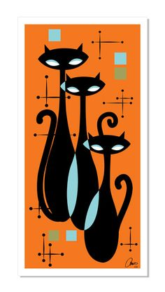 ATOMIC KITTY Art Print Inspired by Retro Mid Century Modern Eames Retro Cat Googie Styles. $99.00, via Etsy.