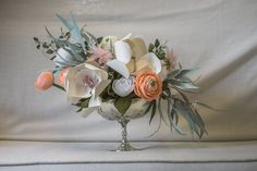 Paper Flower Centerpiece by Paper Portrayals | photo by Dana Todd Photography                                                                                                                                                      More
