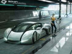 A futuristic New York Taxi featuring the Woorst™ Concept fuels up on a Gas station by 3DHifi with blutsbrueder-design