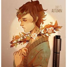 DAY 3 AUTUMN! Flower and leaves halo~ what do you think? remember tag #reltober if you're using my inktober list, you don't have to but it'll be cool to see your work! Im not gonna post everyday bc theyll be in my patreon sketchlog.