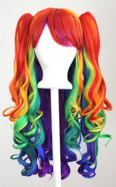 20'' Gothic Lolita Wig 2 Pig Tails Set Rainbow Mixed Blend New   eBay