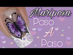 Diseño de uñas mariposa paso a paso/ Decoración de uñas mariposa morado lila - YouTube Toe Nails, Pedicure, Nail Art, Tattoos, Beauty, Youtube, Art Nails, Enamels, Toenails Painted