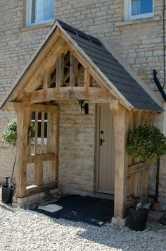 oak partitions porch. I like the side stone walls | Porch Stone ...