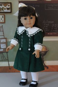 Green Corduroy Dress for American Girl Doll by BabiesArtUs on Etsy