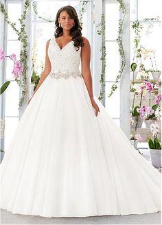 Marvelous Organza Satin V-neck Neckline A-line Plus Size Wedding Dresses with Lace Appliques