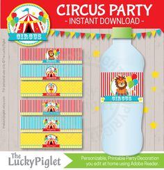 CIRCUS PARTY Printables, Printable Circus Party Package, Circus Party Invitation and Decoration | Instant Download Edit Text in Adobe Reader and print at home or at your favourite, local print shop. Its easy and its something special for your party. The Circus Party Printables by The Lucky Piglet are one of a kind circus party decorations for your Circus Birthday Party or Circus Baby Shower. This BIG Circus Package consists of more than 70 pieces of cute circus printables. Including some…