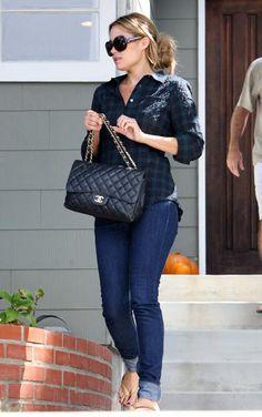 Where can I get Lauren Conrad's jeans, plaid shirt, black purse and flip flops?