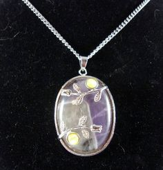 Amethyst and Flowers Oval Pendant