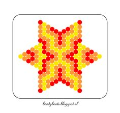 Beady Beads - Star 4d. Perler / Hama / Fusion / Melty / Pyssla Beads. Free Pattern Card! Visit my blog for more free patterns.