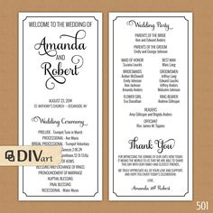 PRINTABLE 4x9 Wedding Program  doublesided  simple and by DIVart, $20.00