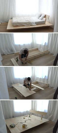 Make This DIY Modern Wood Platform Bed This tutorial for a DIY modern platform bed teaches you how to create a simple wood bed frame with easy to foll Simple Wood Bed Frame, Diy Bed Frame, Wood Bed Frames, Pallet Wood Bed Frame, Wooden Bed Frame Diy, Build Bed Frame, Canopy Frame, Timber Frames, Modern Platform Bed