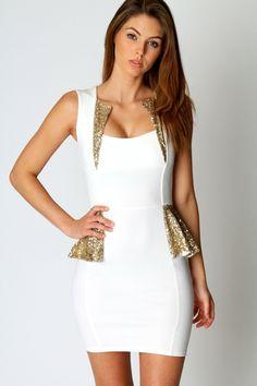 Hayley Sequin Trim Detail Peplum Dress...birthday dress?