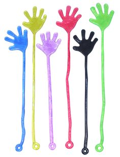 I loved sticky hands. Getting them out of the 25 cent machines and they would always get all nasty from playing with them too much!