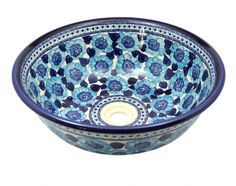 Blue floral sink by Polish pottery. Love it!
