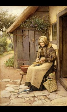 """Charles Edward Wilson """"A Fine Feathered Friend"""" Magpie Elderly Woman NEW Print Classic Paintings, Old Paintings, Paintings I Love, Art And Illustration, Charles Edward, Cottage Art, Realistic Paintings, Fine Art, Vintage Pictures"""