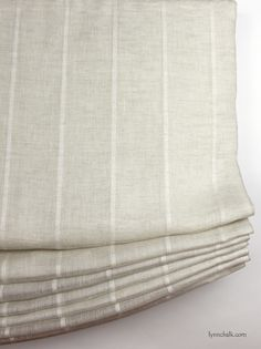Casual Relaxed Roman Shades by Lynn Chalk in Kravet 3586-16 Sheer Linen Stripe (also comes in White and Off White), $330.00 (http://store.lynnchalk.com/casual-relaxed-roman-shades-in-kravet-3586-1116-sheer-linen-stripe/)