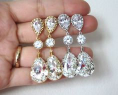 CZ crystal teardrop earrings, jewelry, gold, silver, stunning, sparkly, weddings, bridal, brides, bridesmaid jewelry, prom, birthday, gifts for hers, www.glitzandlove.com, by GlitzAndLove, $33.80