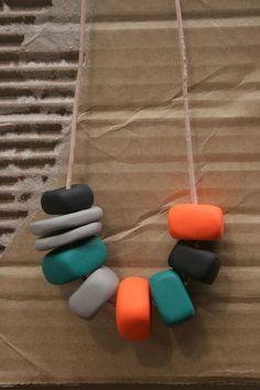 TROPIC OF CAPRICORN Large Bead Necklace - Green, Orange, Black. $35.00, via Etsy.