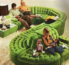 Early green sectional living room couch-WOW- that is one groovy sofa.and shag carpet