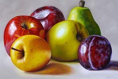 Paisajes y Bodegones: Cuadro pintura: Bodegón con frutas