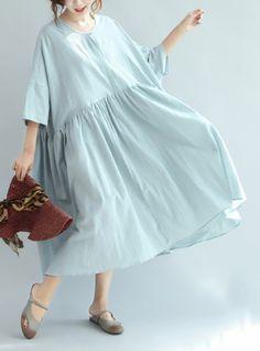 LIGHT BLUE LINEN SUMMER DRESSES PLUS SIZE LARGE HEM SUNDRESS HALF SLEEVE