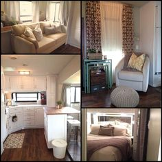 Couple Renovate 5th Wheel Travel Trailer into Tiny Home, even the panels on the freezer and fridge have been painted. Description from pinterest.com. I searched for this on bing.com/images