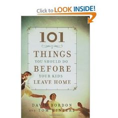 """101 THINGS YOU SHOULD DO  BEFORE YOUR KIDS LEAVE  HOME is packed with ideas and  advice designed to help parents  prepare their children for life out  in the world, while making sure  that both parents and kids enjoy  every precious moment. From  staging a food fight to serving in  a soup kitchen, from planning a  """"tour de neighborhood"""" bike race  to telling family stories, some suggestions  are fun, some challenging,  and others practical--but all will  inspire parents with ideas for family…"""