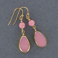 Sadie Green's Vintage Pink Japanese Glass Drop Earrings