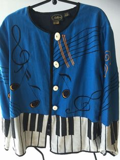 S O L D   Vintage Allure Funky Handcrafted Jacket Blazer Women's XL Music Piano Blue Black…