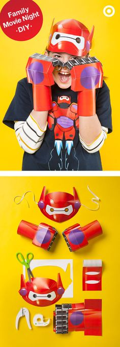 Be a movie night hero with this Big Hero 6 printable Baymax mask and fist. With a printer, scissors, tape, string and robot-like ability to follow a few step-by-step directions, you and your little one can have an action-packed night in together. Follow the link for detailed instructions.
