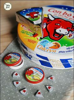 Re Ment. Mini Babybel cheese next to real babybel.