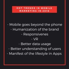 7 Hot mobile marketing trends to watch in 2016 #CRMforMobile #Mobile #marketing #2016MobileMarketingTrends