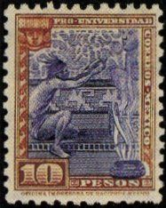 Rare Mexico Stamps -1934 10 pesos postage violet and brown, university.